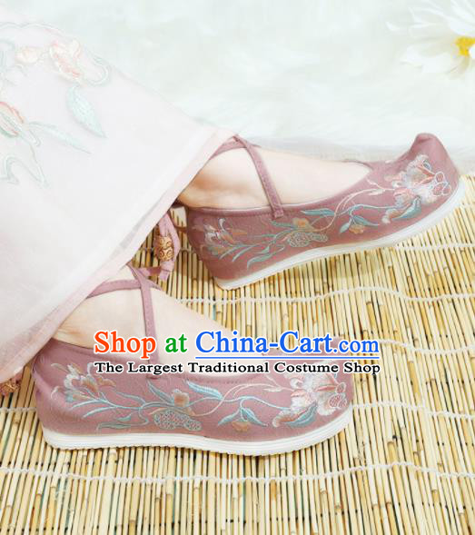 Chinese National Pink Cloth Hanfu Shoes Traditional Princess Shoes Embroidered Shoes for Women