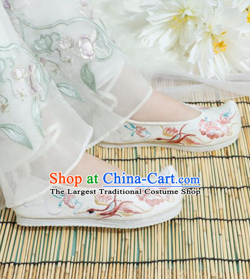 Chinese National Embroidered Phoenix Peony White Shoes Ancient Traditional Princess Shoes Hanfu Shoes for Women