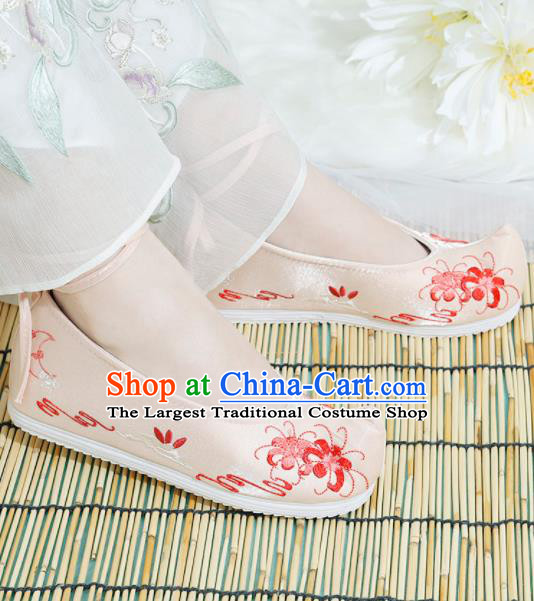Chinese National Embroidered Manjusaka Pink Shoes Ancient Traditional Princess Shoes Hanfu Shoes for Women