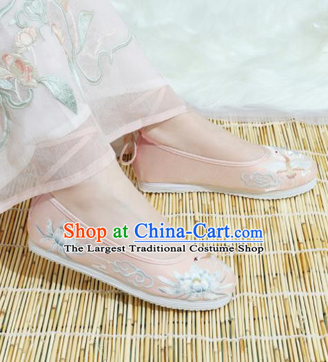 Chinese National Embroidery Lotus Pink Cloth Hanfu Shoes Traditional Princess Shoes Embroidered Shoes for Women