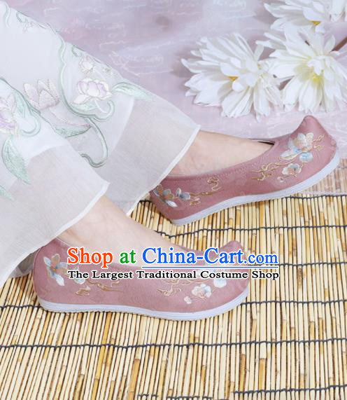 Chinese National Embroidered Magnolia Pink Shoes Ancient Traditional Princess Shoes Hanfu Shoes for Women