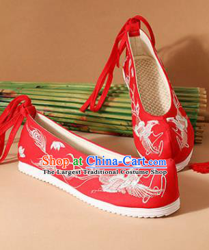 Chinese National Embroidered Phoenix Red Shoes Ancient Traditional Princess Shoes Wedding Hanfu Shoes for Women