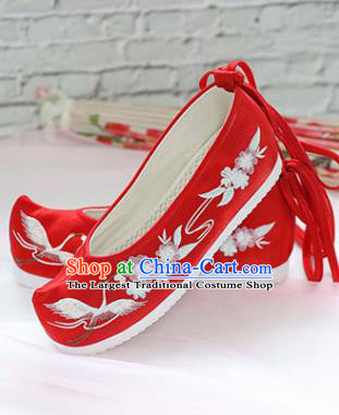 Chinese National Embroidered Crane Flower Red Shoes Ancient Traditional Princess Shoes Wedding Hanfu Shoes for Women