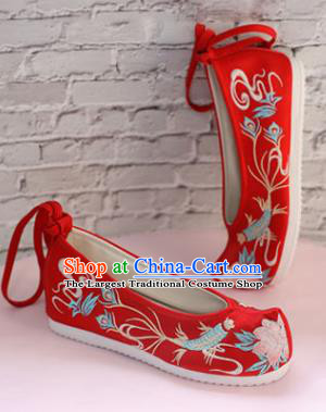 Chinese National Embroidered Fish Flower Red Shoes Ancient Traditional Princess Shoes Wedding Hanfu Shoes for Women