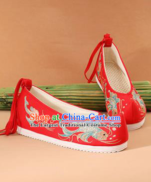 Chinese National Embroidered Carps Red Shoes Ancient Traditional Princess Shoes Wedding Hanfu Shoes for Women