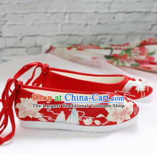 Chinese National Wedding Embroidered Lotus Red Shoes Ancient Traditional Princess Shoes Hanfu Shoes for Women