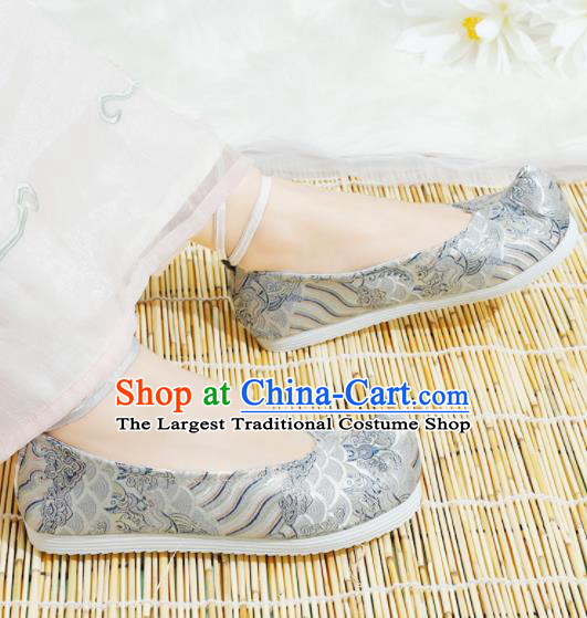 Chinese National Grey Hanfu Shoes Traditional Princess Shoes Embroidered Shoes for Women