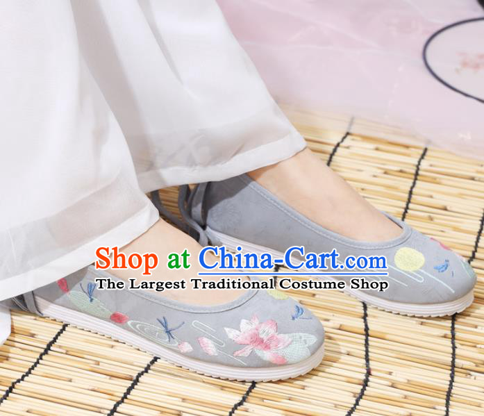 Traditional Chinese National Embroidered Lotus Grey Shoes Ancient Princess Shoes Handmade Hanfu Shoes for Women