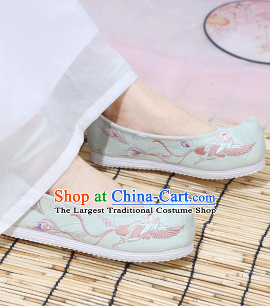 Traditional Chinese National Embroidered Phoenix Light Green Shoes Ancient Princess Shoes Handmade Hanfu Shoes for Women