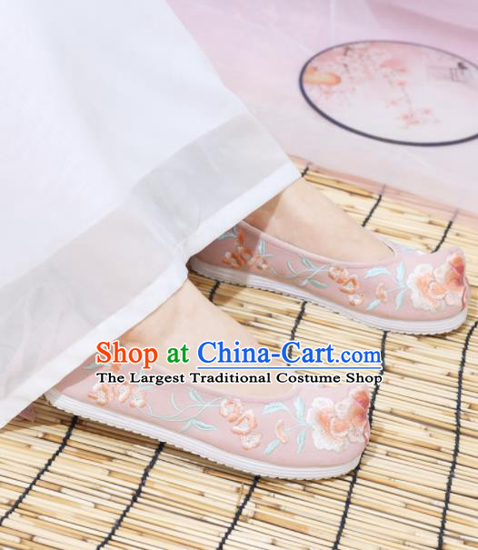 Traditional Chinese National Embroidered Peony Pink Shoes Ancient Princess Shoes Handmade Hanfu Shoes for Women