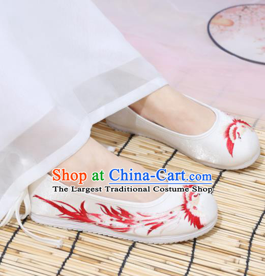 Traditional Chinese National Embroidered Red Phoenix Shoes Ancient Princess Shoes Handmade Hanfu Shoes for Women