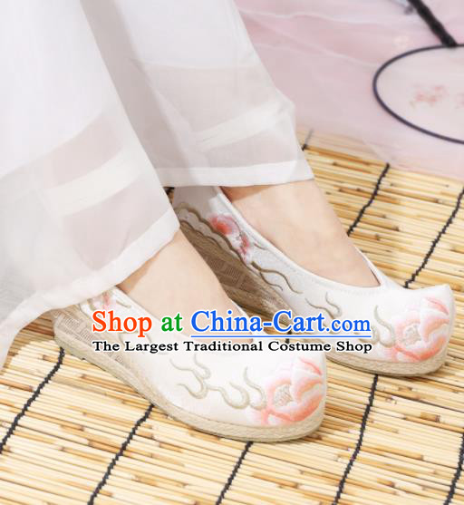 Traditional Chinese National Embroidered Peony High Heels White Shoes Ancient Princess Shoes Handmade Hanfu Shoes for Women