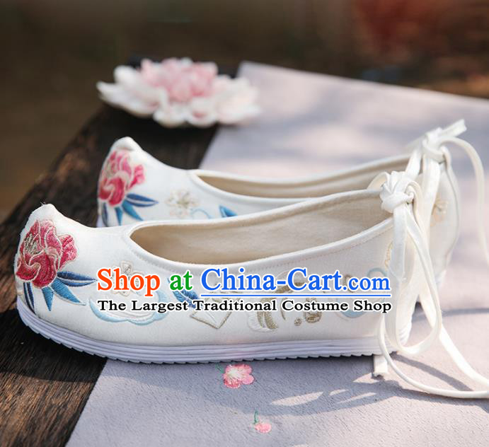 Traditional Chinese National Embroidered Peony White Shoes Ancient Princess Cloth Shoes Handmade Hanfu Shoes for Women