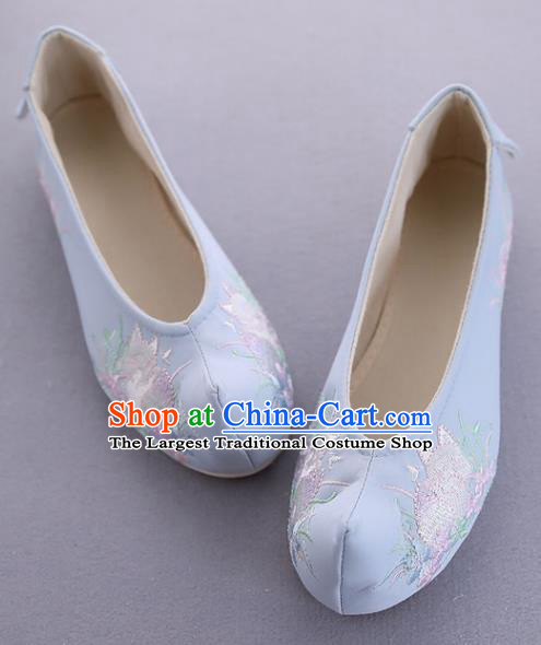 Traditional Chinese National Embroidered Orchid Blue Shoes Ancient Princess Cloth Shoes Handmade Hanfu Shoes for Women