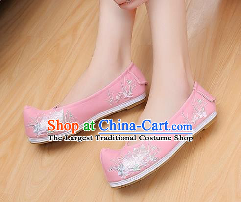 Traditional Chinese National Embroidered Orchid Pink Shoes Ancient Princess Cloth Shoes Handmade Hanfu Shoes for Women