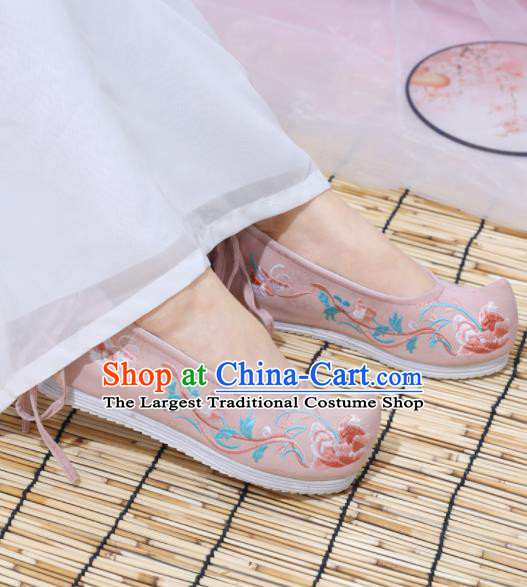 Traditional Chinese National Pink Embroidered Shoes Ancient Princess Shoes Handmade Hanfu Shoes for Women