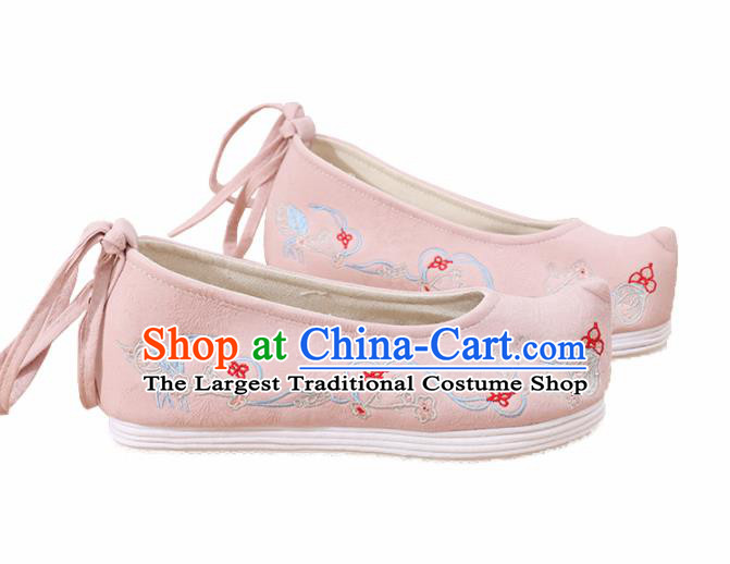 Traditional Chinese National Pink Embroidered Plum Shoes Ancient Princess Shoes Handmade Hanfu Shoes for Women