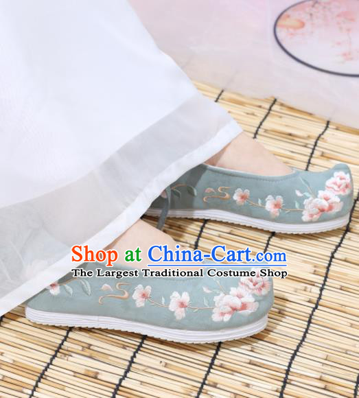 Traditional Chinese National Green Embroidered Begonia Shoes Ancient Princess Shoes Handmade Hanfu Shoes for Women