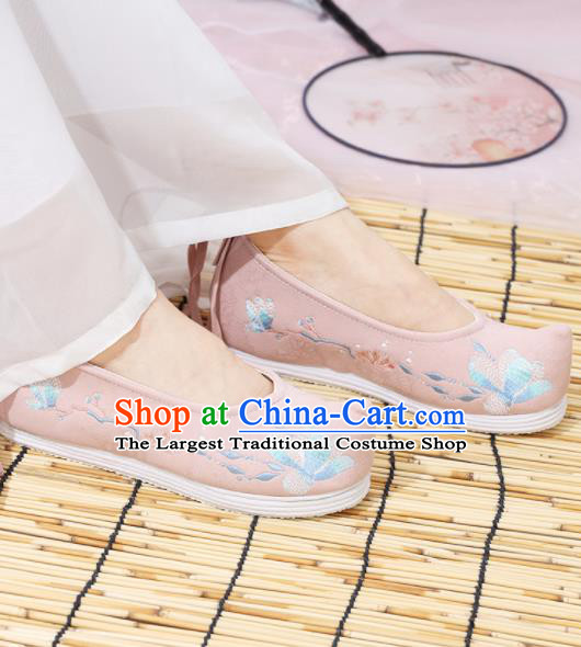Traditional Chinese National Embroidered Magnolia Pink Shoes Ancient Princess Shoes Handmade Hanfu Shoes for Women