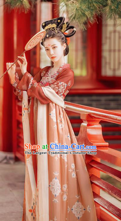 Traditional Chinese Tang Dynasty Court Lady Historical Costumes Ancient Imperial Consort Orange Hanfu Dress for Women