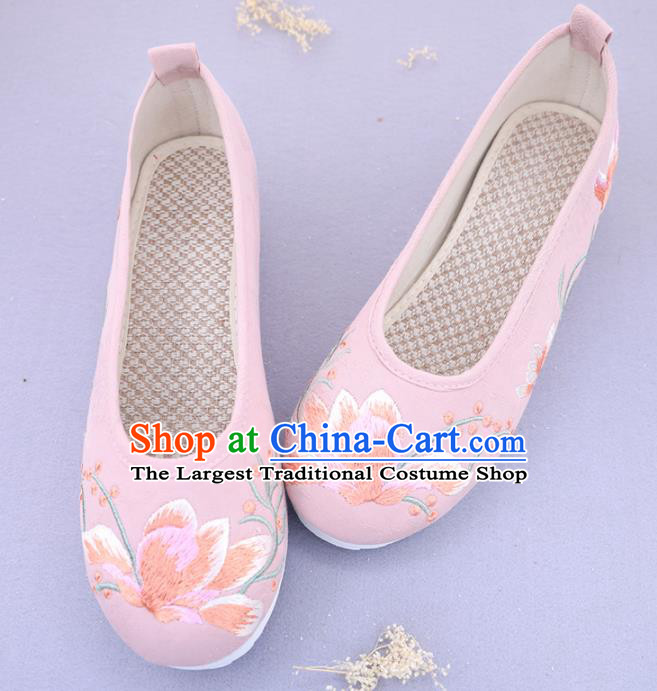 Traditional Chinese Ancient Princess Embroidered Magnolia Pink Shoes Cloth Shoes Handmade Hanfu Shoes for Women