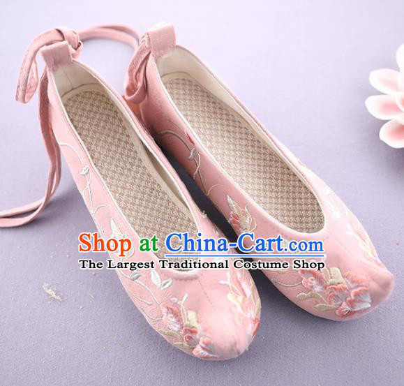 Traditional Chinese National Embroidered Pink Shoes Ancient Princess Cloth Shoes Handmade Hanfu Shoes for Women