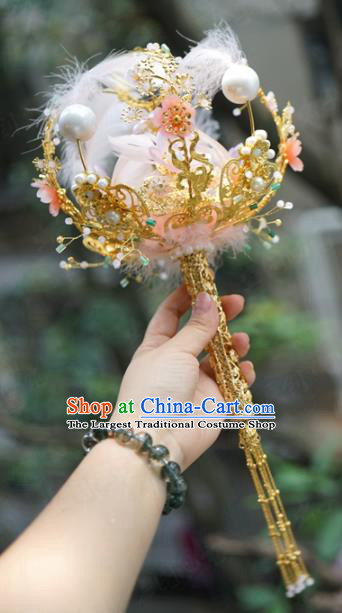 Traditional Chinese Wedding Accessories Ancient Bride Pink Feather Bouquet for Women