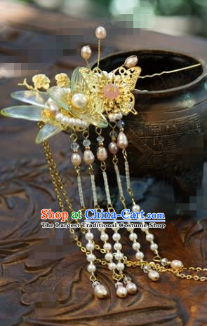 Traditional Chinese Handmade Court Golden Butterfly Hairpins Hair Accessories Ancient Hanfu Hair Clip for Women