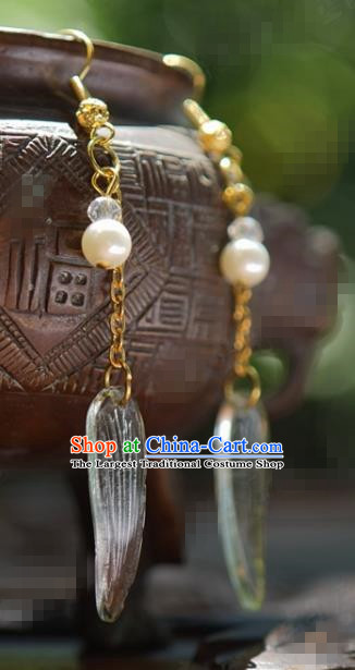 Traditional Chinese Handmade Court Bamboo Leaf Ear Accessories Ancient Princess Earrings for Women