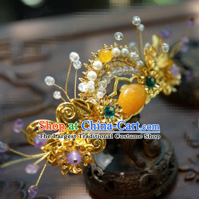 Traditional Chinese Handmade Court Golden Hair Crown Hairpins Hair Accessories Ancient Hanfu Hair Clip for Women