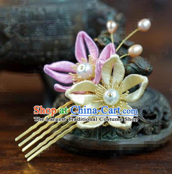Traditional Chinese Handmade Court Plum Hairpins Hair Accessories Ancient Queen Hanfu Hair Comb for Women