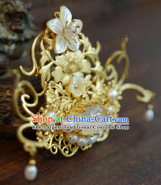 Traditional Chinese Ancient Queen Golden Hair Crown Handmade Hanfu Court Hairpins Hair Accessories for Women