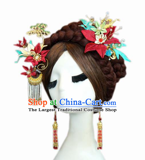 Traditional Chinese Wedding Hair Accessories Ancient Bride Tassel Hairpins Complete Set for Women