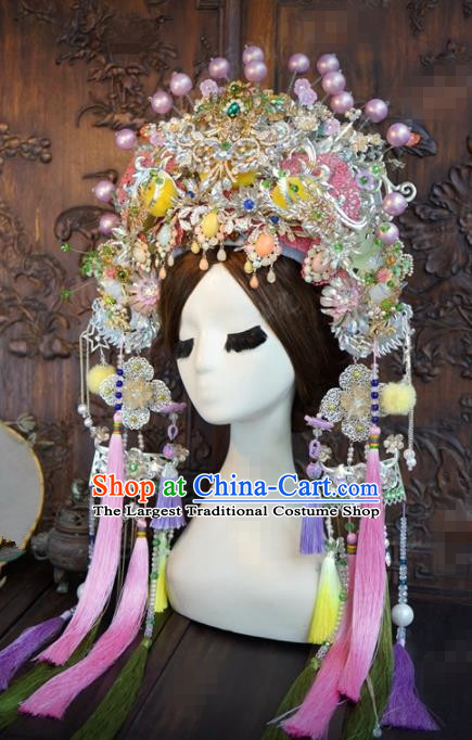 Traditional Chinese Wedding Hair Accessories Phoenix Coronet Ancient Bride Hairpins Complete Set for Women