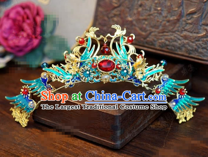 Traditional Chinese Ancient Queen Cloisonne Hair Crown Handmade Hanfu Court Hairpins Hair Accessories for Women