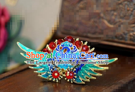 Traditional Chinese Ancient Queen Cloisonne Crane Hair Clip Handmade Hanfu Court Hairpins Hair Accessories for Women