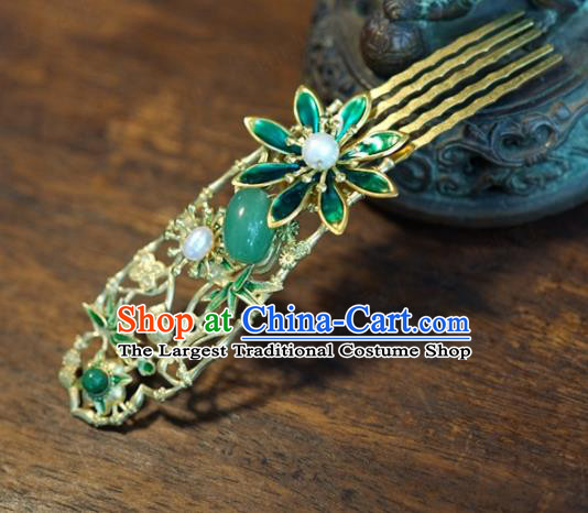 Traditional Chinese Handmade Court Jade Hairpins Hair Accessories Ancient Queen Hanfu Hair Comb for Women