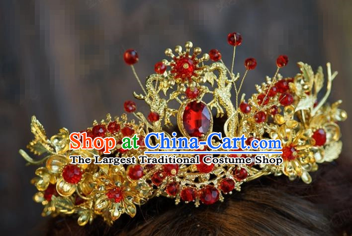 Traditional Chinese Ancient Bride Hair Crown Handmade Hanfu Court Queen Hairpins Hair Accessories for Women