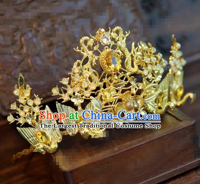 Traditional Chinese Ancient Bride Golden Hair Crown Handmade Hanfu Court Queen Hairpins Hair Accessories for Women