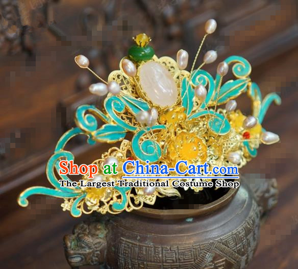Traditional Chinese Ancient Bride Pearls Hair Crown Handmade Hanfu Court Queen Hairpins Hair Accessories for Women