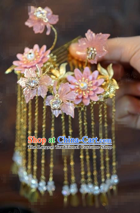 Traditional Chinese Ancient Bride Lotus Hair Comb Handmade Hanfu Court Queen Hairpins Hair Accessories for Women