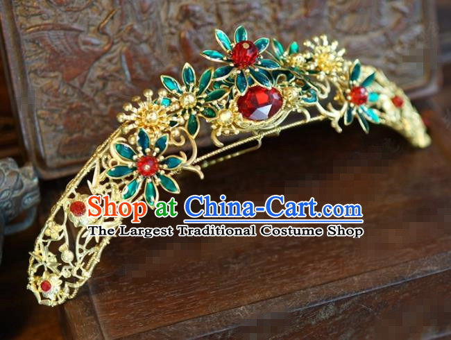 Traditional Chinese Ancient Bride Hair Crown Hanfu Court Queen Hairpins Handmade Hair Accessories for Women