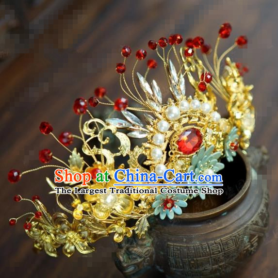 Traditional Chinese Ancient Bride Pearls Hair Crown Hanfu Court Queen Hairpins Handmade Hair Accessories for Women