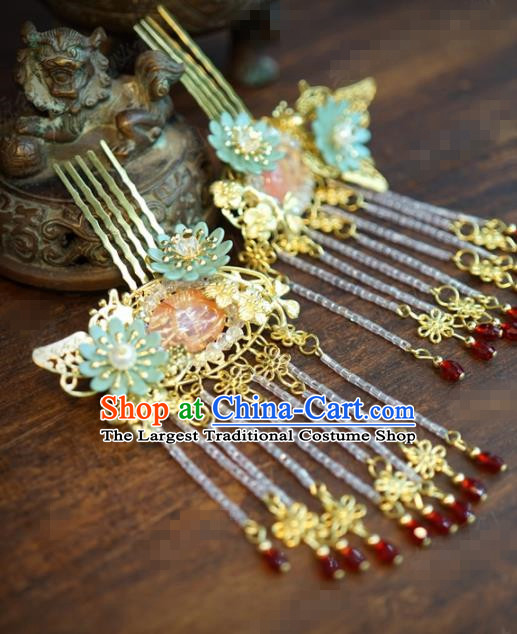 Traditional Chinese Ancient Bride Tassel Hair Combs Hanfu Court Queen Hairpins Handmade Hair Accessories for Women