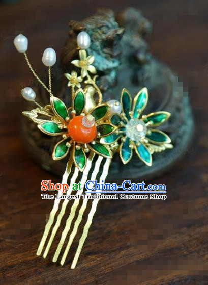 Traditional Chinese Handmade Court Persimmon Hairpins Hair Accessories Ancient Queen Hanfu Hair Comb for Women