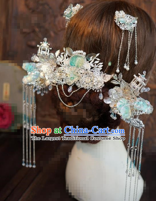 Traditional Chinese Wedding Hair Accessories Ancient Bride Tassel Phoenix Coronet Hairpins Complete Set for Women