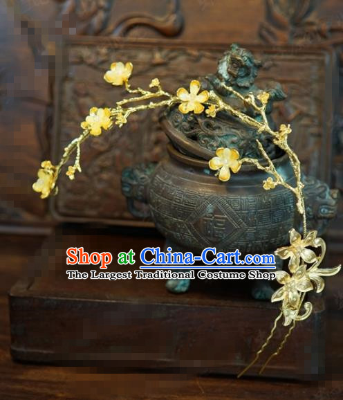 Traditional Chinese Handmade Court Golden Plum Hairpins Hair Accessories Ancient Queen Hanfu Hair Clip for Women
