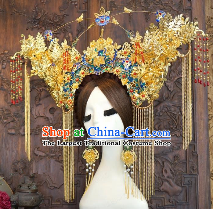 Traditional Chinese Wedding Hair Accessories Ancient Bride Cloisonne Phoenix Coronet Hairpins Complete Set for Women