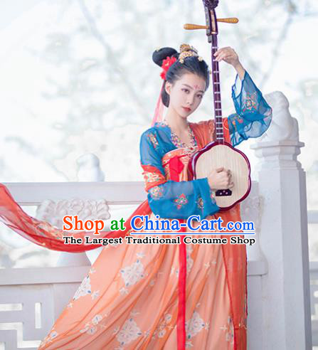 Traditional Chinese Tang Dynasty Court Princess Replica Costumes Ancient Palace Lady Orange Hanfu Dress for Women