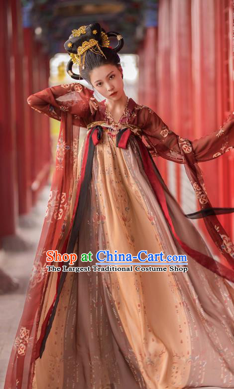 Traditional Chinese Tang Dynasty Court Dancer Replica Costumes Ancient Imperial Consort Hanfu Dress for Women